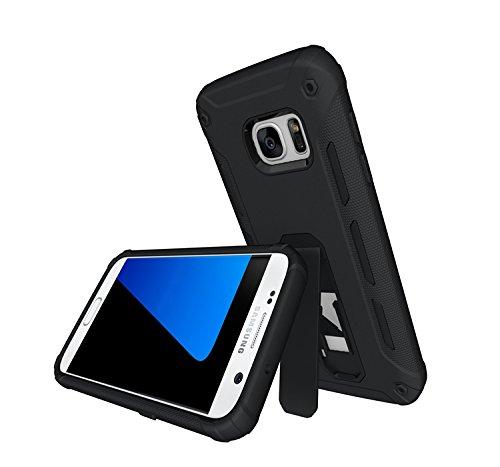 YHUISEN Galaxy S7 Edge Case, Cool Shockproof Rüstung Hybrid 2 In1 TPU und PC Rugged Dual Layer Mit Kickstand Fall für Samsung Galaxy S7 Edge ( Color : Green ) Black