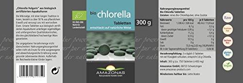 Amazonas Naturprodukte Bio Chlorella Presslinge 300g (750 St. je 400 mg) Superfood und effektive Entgiftung Naturbelassen ohne Zusätze Rohkost Qualität