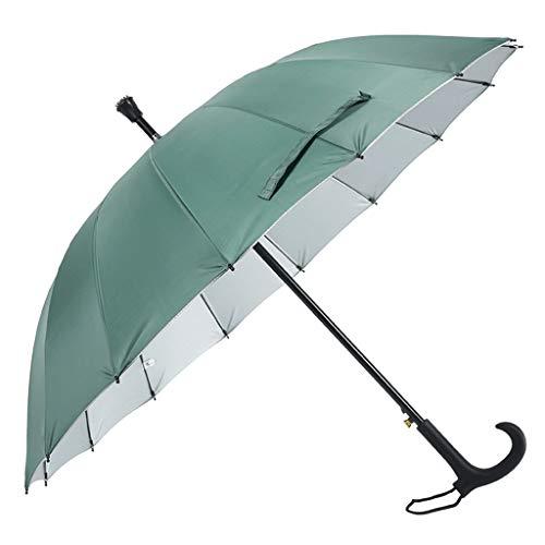 Regenschirm Cane Smart Regenschirm Langer Griff Regen und Regen Doppelt verwendbarer Sonnenschutz für ältere Personen Handlauf Double Inverted Weatherproof (Color : Green)