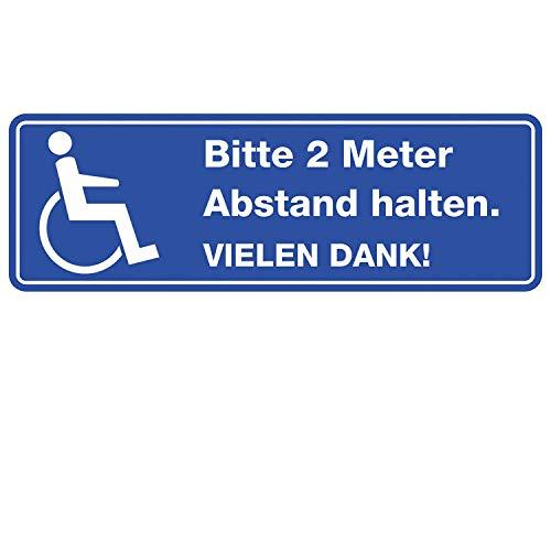 easydruck24 Bitte 2 Meter Abstand halten I Aufkleber für Rollstuhl-Fahrer Wetterfest 30 cm