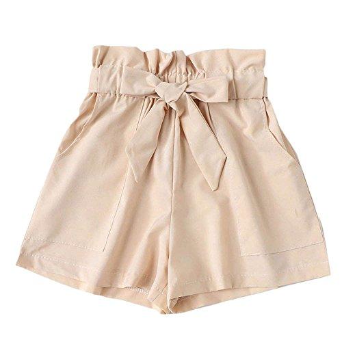 Lonshell Damen Sommer Kurze Hose Hohe Taille Shorts mit Taillenband Elastische Strand Shorts Sommer Locker Lässige Shorts Sport Hot Pants -