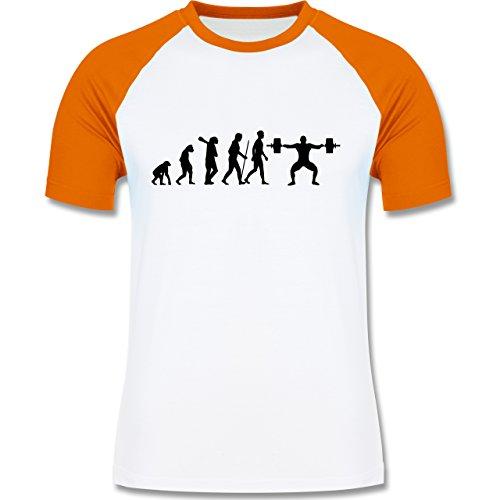 Shirtracer Evolution - Gewichtheber Evolution - Herren Baseball Shirt Weiß/Orange