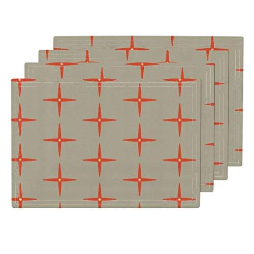 Promini Hitzebeständige Tischsets, modernes Atomic Stern, waschbar, Polyester, Rutschfest, waschbar, Platzsets für Küche und Esszimmer, 4 Stück - Suntouch Mat
