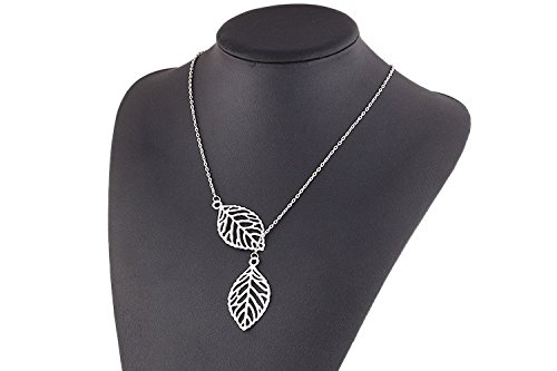 malloomr-1-set-women-girls-simple-metal-double-leaf-pendant-choker-necklace-plata-silver