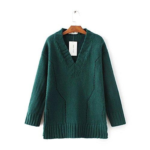 HUA&X Col en V femmes Regroupement cavaliers occasionnels Haut Pull Sweater sweat-shirts green