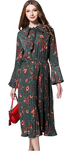 Shineflow Damen Sommer Blumendruck Lange Ärmel elastische Taille Plissee Kleid Knielänge (M, Grün) Langen Ärmeln Kleid