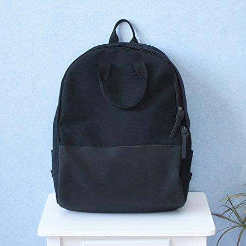 BAGEHUA ragazze piccole e fresche zaino borsa di tela studente borsa borsa da viaggio quattro colori opzionale Rosa black