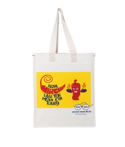 The Blue Pink Mirchi Yellow unisex grocery handbag (Mirchi-09M)  available at amazon for Rs.149