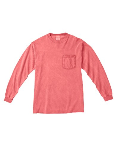 Treask 6.1 Oz. Long-Sleeve Pocket T-Shirt (C4410) 2NEON RED ORANGE