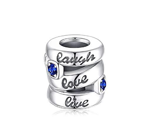 e86d9d50995b FeatherWish - Abalorio de plata de ley 925 con circonita cúbica azul para  pulsera Pandora
