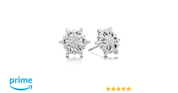 e4ae78d34 Disney Frozen White Gold Plated Snowflake Stud Earrings: Amazon.co.uk:  Jewellery