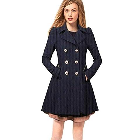 Reaso Manteau Hiver Femme Parka Mi-Longue Blouson Chaud Pullover Elegant Cardigan Manches Longues Veste Automne Outwear Button Coat Sweatshirt Chic Sweater Pull Jacket (XXL, Marine)