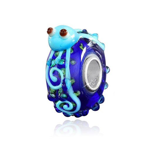 MATERIA Muranoglas Bead Oktopus Krake 925 Silber - 3D Tier Anhänger blau für European Armband #1011