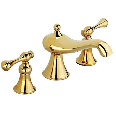 FF Luxuey Style Widespread with Brass Valve Two Handles Three Holes Ti-PVD Finish Golden Bathroom Basin Sink Faucet