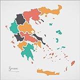Poster 30 x 30 cm: Griechenland Landkarte modern abstrakt