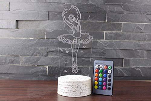 3D Lampe Optische Led Täuschung Nachtlicht Ballett 7 Farben Niedliche Cartoon-Form Touch Switch Acryl Flat & Abs Base Deko Besten Für Kinder Spielzeug Geschenk Haus Dekoration (Wohnungen Hochzeit Ballett)