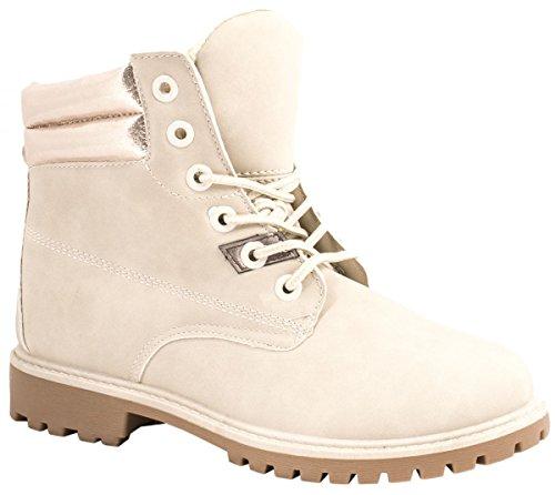 Elara Damen Worker Boots | Bequeme Warm Gefütterte Schnürrer | Outdoor Stiefeletten Beige/Beige