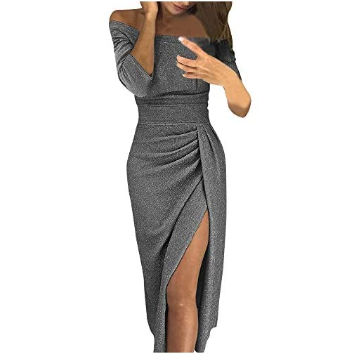 pick up d7486 a6e0a Theshy Donne off Spalla Alta Fessura Bodycon Dress Maniche Lunghe Abiti  Ragazza Gonne Invernali Lunghe Donna Gonna Vita Alta Scozzese Abito Donna  ...