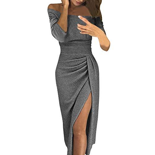(SEWORLD Karneval Damen Tasche Kleid mit offenem Kragen Hellen Kristall Kleid Abendkleid Frauen Weg Von Der Schulter Hohe Geschlitzte, Figurbetontes Kleid Langarm Kleider(Grau,EU-38/CN-XL))