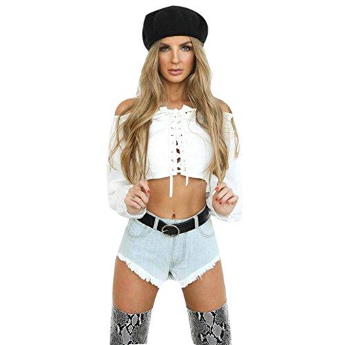 Blusen,Chshe Frauen Sexy Riemchen Schulter AD Damen Casual T - Shirt Tops Bluse Top Weiß