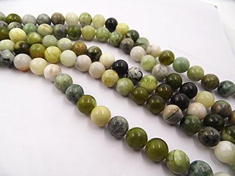 Thetastejewelry rondes 12mm fleur Perles de jade 38,1cm 38cm Bijoux Collier Healing