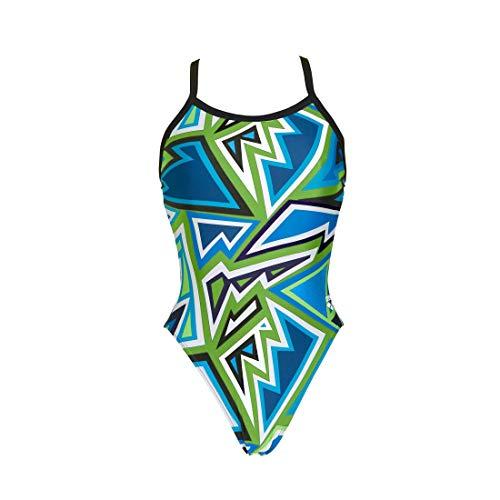 ARENA Damen Tulum Challenge Rückseite Onepiece Badeanzug, Damen, Leaf