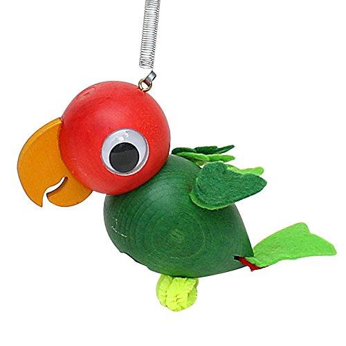 Dekohelden24 Holz Figur Papagei mit Sprungfeder, 10 x 6 cm