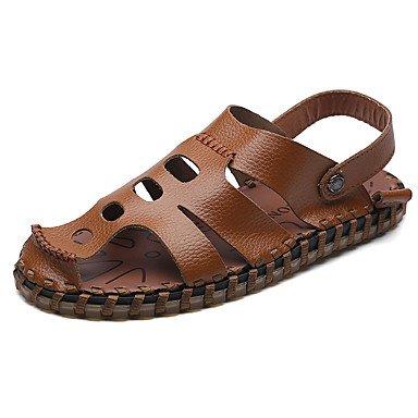 Los hombres sandalias de cuero marrón de verano Confort Casual blanco y negro US8.5-9 / EU41 / UK7.5-8 / CN42