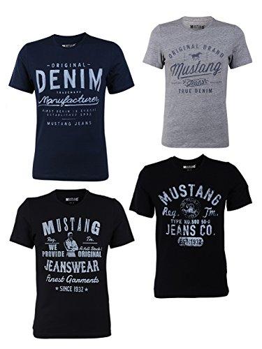 MUSTANG 4er Pack Herren T-Shirt mit Frontprint und Rundhalsausschnitt - Motivmix, Größe:M, Farbe:Farbmix (P8)