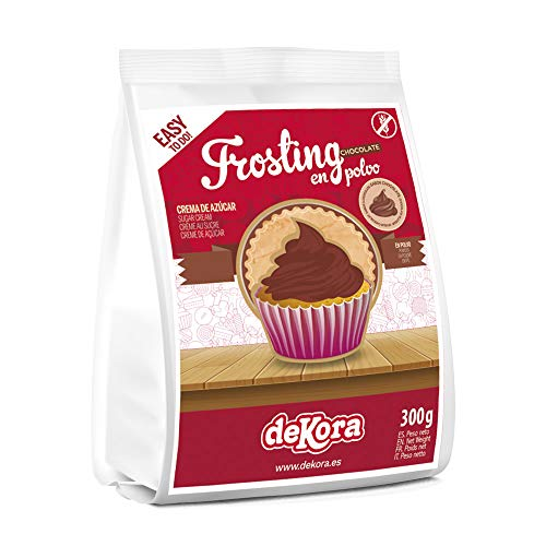 Dekora - Frosting para Tarta de Chocolate en Polvo para Adornar Tartas, Bizcochos o Cupcakes - 300 Gr