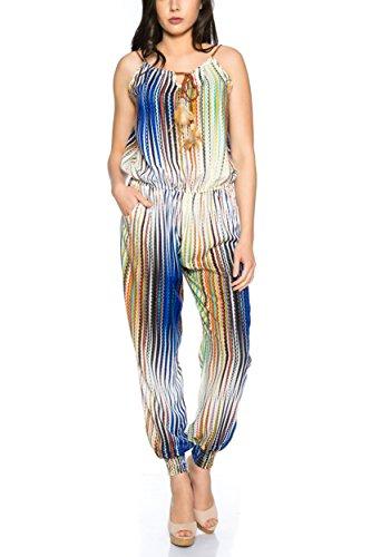 Kendindza Femme Jumpsuit combinaison Calqué longue avec support 016-34-Bleu