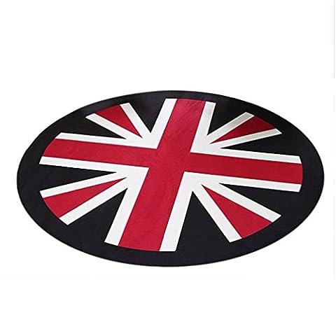 Iuhan Mode Union Jack ronde antidérapante 3d Sol amovible étanche Home Decor Tapis blanc