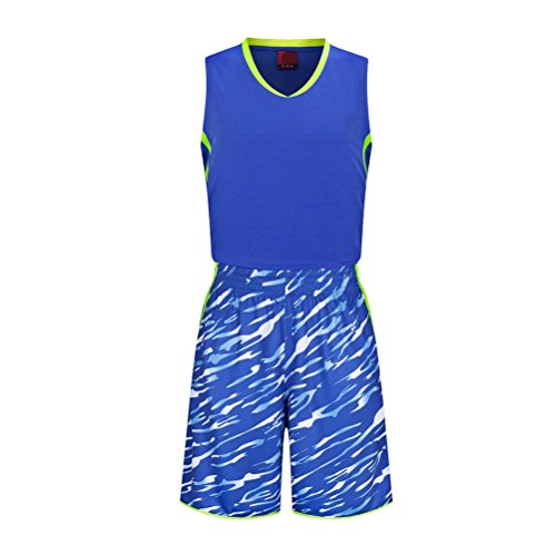 Zhuhaitf Alta qualità Mens Summer Fashion Loose Sleeveless Basketball Sports Training Wear Blue