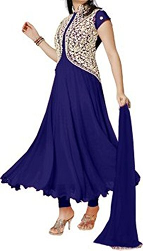 Varibha® Women\'s BLUE & SILVER Wear Georgette Suit Dress Material | Best Deal Of The Day | Best Offer Of The Day | diwali offers for women dresses | diwali offers for women dresses | diwali offer 20