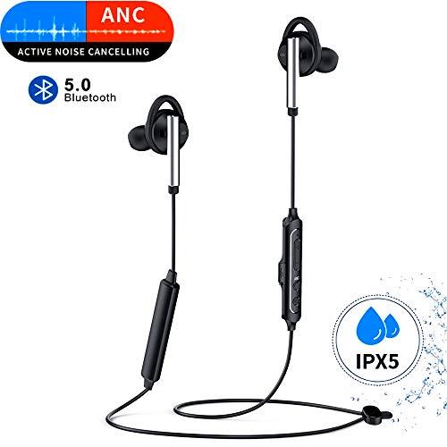 Nuomaidi Bluetooth Kopfhörer In Ear,Bluetooth 5.0 Sport Kopfhörer Wireless Ohrhörer Noise Cancelling Kopfhörer ANC HiFi Stereo Drahtlose Headphones-Schwarz