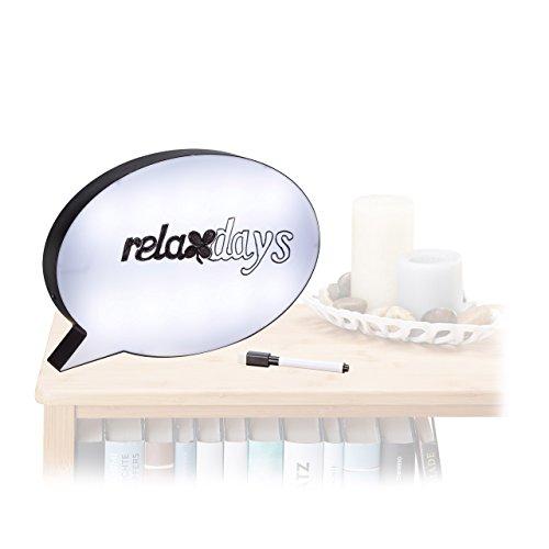 Relaxdays Leuchtkasten Sprechblase, Light Box mit Marker, beschreibbares LED Schild, HBT: 20,5x29,5x4 cm, weiß/schwarz -