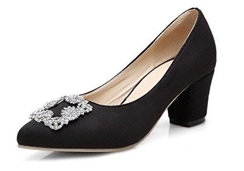 AllhqFashion Femme Tire Pointu à Talon Correct Suédé Couleur Unie Chaussures Légeres Noir