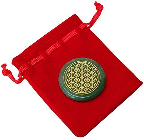 Kaltner Präsente–Regalo Idea–Amuleto de la suerte piedra bolsillo Piedra–Piedra de la piedra aventurina (38mm de diámetro) con grabado Flor de la Vida