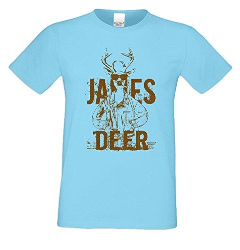James Deer ... Sprüche-Fun-Hirsch-T-Shirt für Herren Freizeit Volksfest Oktoberfest Tracht Outfit - Geschenk Männer Farbe: hellblau Hellblau