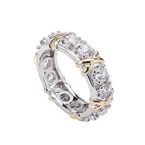Amesii, elegante anello con zirconi CZ e placcato in oro bianco, con decorazioni a forma di croce, anello da donna, gioiello per matrimonio e Lega, 22, colore: US 10, cod. AME
