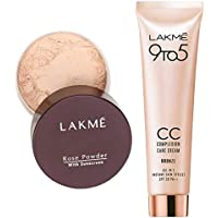 Lakmé Rose Face Powder, Soft Pink, 40g And Lakmé 9 to 5 Complexion Care Face Cream, Bronze, 30g