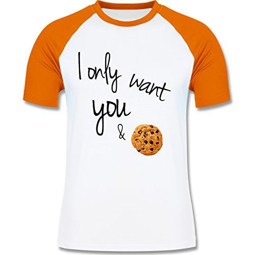 Statement Shirts - I only want you and cookies - zweifarbiges Baseballshirt für Männer Weiß/Orange