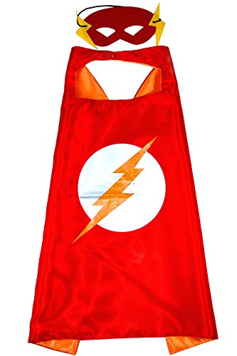 Die Flash Kostüme Kinder (Flash Superheld Cape und Maske - Für Kinder Satin capes Kostüme mit filz masken Superhelden verkleidung Superhero Mäntel, Umhänge für Kinder - King Mungo -)