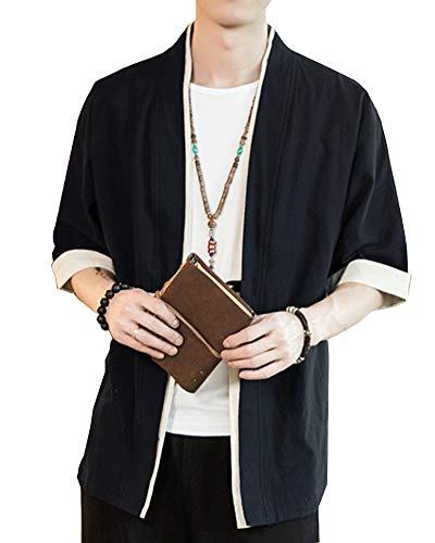 Shaoyao Hombres Cárdigan Chaqueta De Kimono Japonesa