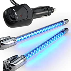 2x 15 LED NEON Auto Innenraum Beleuchtung BLAU Lampe Band Musik Sensor