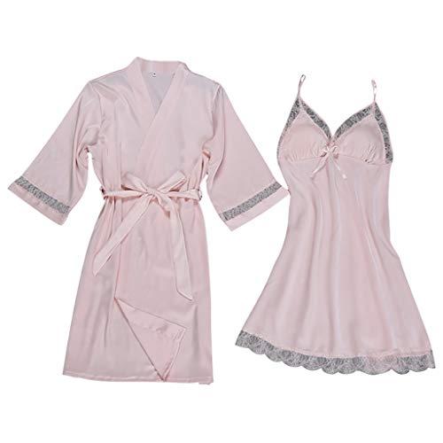 Damen Pyjamas Set FGHYH Frauen Sexy Satin Fashion Lace Patchwork Nachtwäsche Sling Robe Langarm Set(L, Rosa) Fashion Rosa Kleid Set