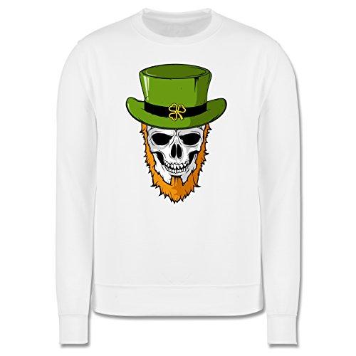 Festival - St. Patricks Day - Totenkopf - Herren Premium Pullover Weiß