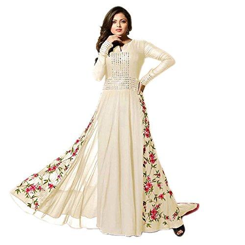 Ethnic Wings White With Red flower Salwar Suit COLOR LATEST INDIAN DESIGNER ANARKALI SALWAR KAMEEZ DRESS TOP-SEMI-STITCHED , BOTTOM-UNSTITCHED