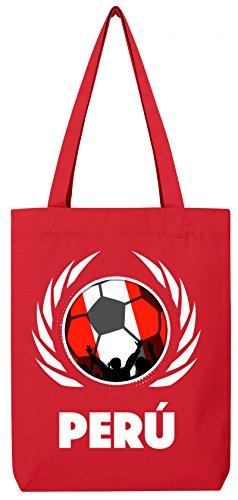Wappen World Cup Fussball WM Bio Baumwoll Tote Bag Jutebeutel Stanley Stella Fußball Peru Red