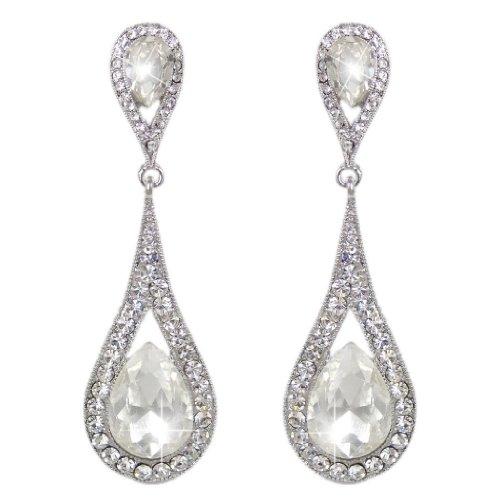 EVER FAITH® österreichischen Kristal Träne Form elegant Art Deco Anhänger Ohrring Klar Silber-Ton (Deco Art Modeschmuck Antike)